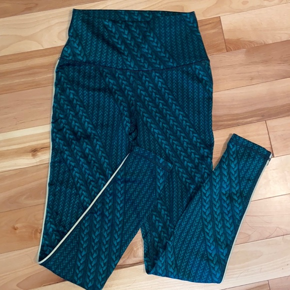 aerie activewear green leggings with yellow piping